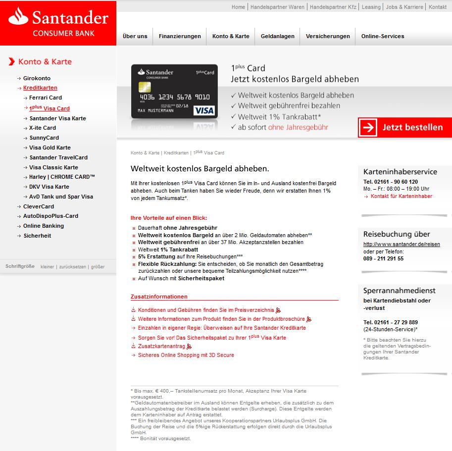 Girokonto Comdirect Dkb Und Norisbank Im Vergleich: Santander-1plus-visa-card